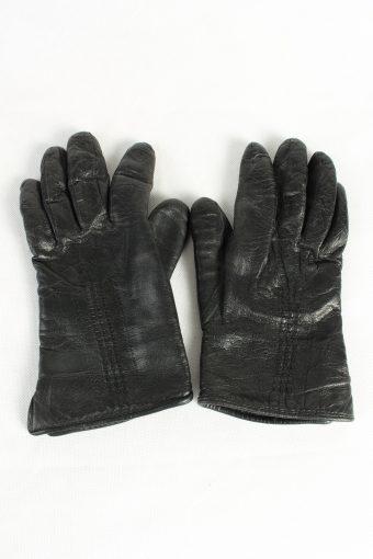 Vintage Womens Leather Gloves Lined Black