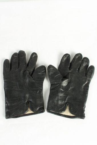 Vintage Womens Leather Gloves Lined Black G92-125411