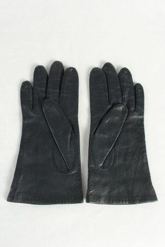 Vintage Womens Leather Gloves Lined Dark Blue G98-125435