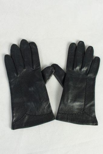 Vintage Womens Leather Gloves Lined Dark Blue