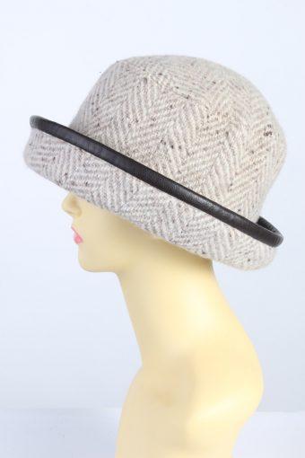 Vintage 1970s Fashion Womens Knit Brim Lined Hat Brown HAT1286-125660