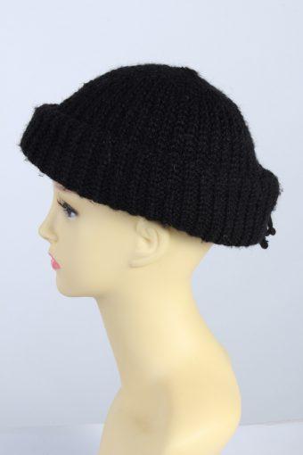 Vintage 1970s Fashion Womens Knit Brim Lined Hat Black HAT1290-125676