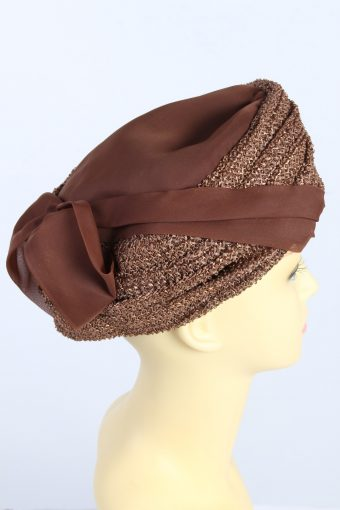 Vintage 1970s Fashion Womens Lined Ribbon Hat Brown HAT1320-126163