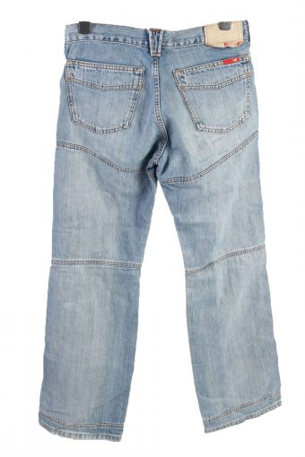Vintage Mustang Mid Waist Unisex Denim Jeans W32 L33.5 Light Blue J4601-126605
