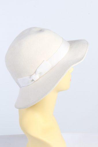 Vintage C&A 1990s Fashion Womens Trilby Ribbon Hat White HAT1351-126908