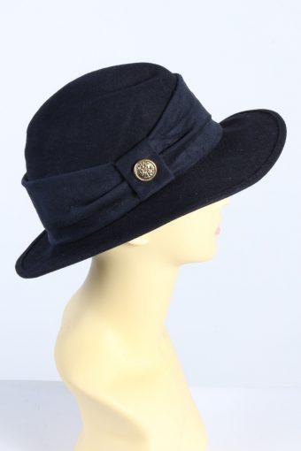 Vintage Lady Like 1990s Fashion Womens Trilby Ribbon Hat Black HAT1356-126928