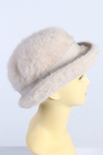 Vintage 1990s Fashion Womens Brim Furry Hat Beige HAT1359-126940
