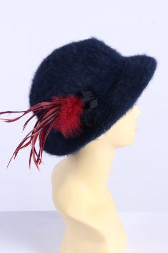 Vintage 1980s Fashion Womens Brim Furry Hat Navy HAT1360-126944