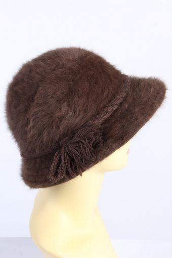Vintage 1980s Fashion Womens Brim Furry Hat Brown HAT1363-126956