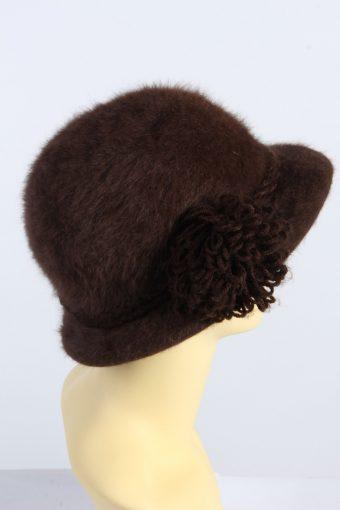 Vintage 1980s Fashion Womens Brim Furry Hat Brown HAT1365-126964