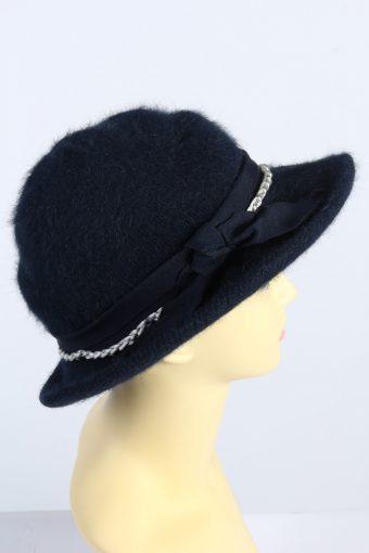 Vintage 1980s Fashion Womens Brim Furry Hat Navy HAT1366-126968