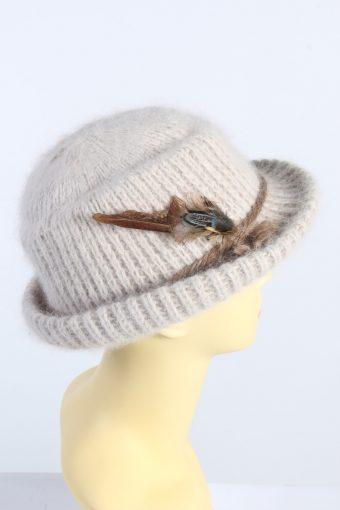 Vintage 1980s Fashion Womens Brim Knit Hat Beige HAT1367-126972