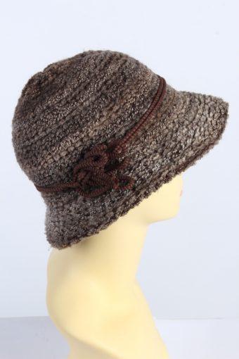 Vintage 1980s Fashion Womens Brim Knit Hat Brown HAT1369-126980