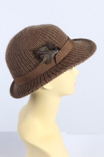 Vintage 1980s Fashion Womens Brim Knit Hat Brown HAT1371-126988