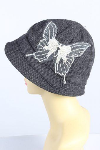 Vintage 1970s Fashion Womens Brim Hat Grey HAT1378-127016