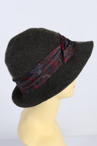 Vintage 1990s Fashion Womens Trilby Ribbon Hat Khaki HAT1383-127712