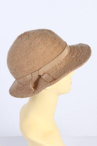 Vintage 1980s Fashion Womens Brim Knitted Pattern Hat Brown HAT1394-127756
