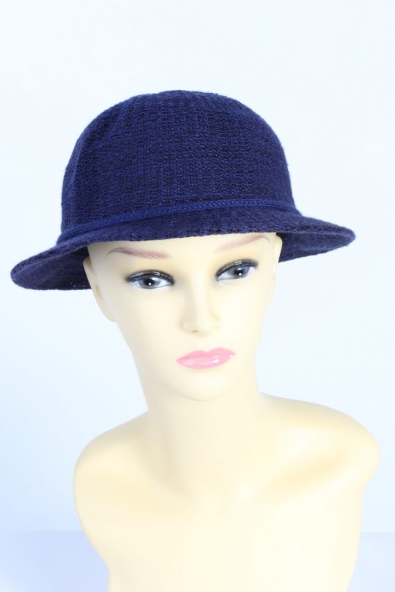 Vintage 1980s Fashion Womens Brim Knitted Pattern Hat Blue HAT1395-0