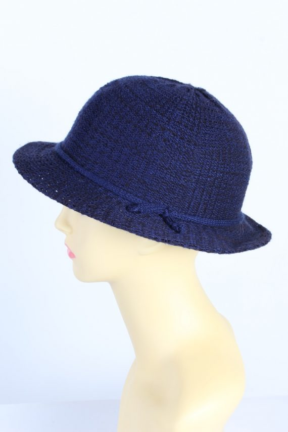 Vintage 1980s Fashion Womens Brim Knitted Pattern Hat Blue HAT1395-127760