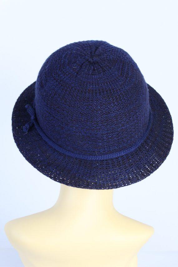 Vintage 1980s Fashion Womens Brim Knitted Pattern Hat Blue HAT1395-127761
