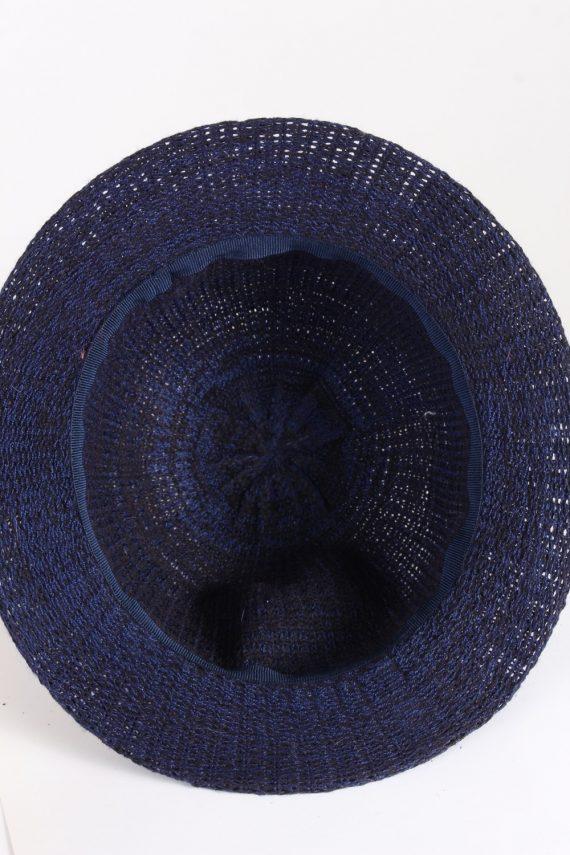 Vintage 1980s Fashion Womens Brim Knitted Pattern Hat Blue HAT1395-127762