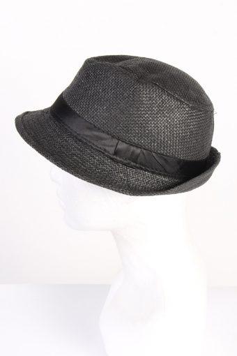 Vintage 1970s Fashion Mens Brimmed Straw Summer Hat Black HAT1402-127788