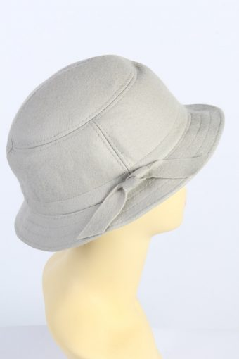 Vintage 1980s Fashion Womens Brim Lined Hat With Ribbon Grey HAT1425-127884