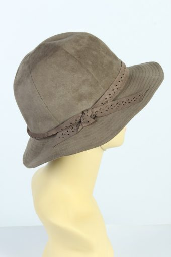 Vintage Alcantara 1990s Fashion Womens Trilby Lined Hat With Smart Ribbon Brown HAT1441-128261