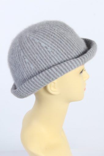 Vintage 1980s Fashion Womens Brimmed Furry Lined Hat Grey HAT1450-128297