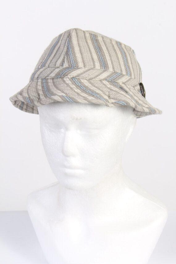 Vintage 1970s Fashion Unisex Brim Lined Hat With Buckle Detail Multi HAT1462-0