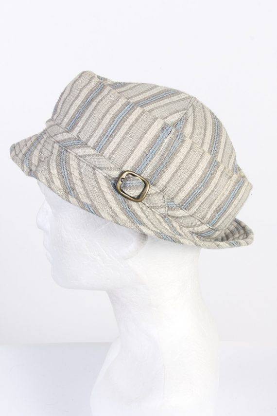 Vintage 1970s Fashion Unisex Brim Lined Hat With Buckle Detail Multi HAT1462-128345