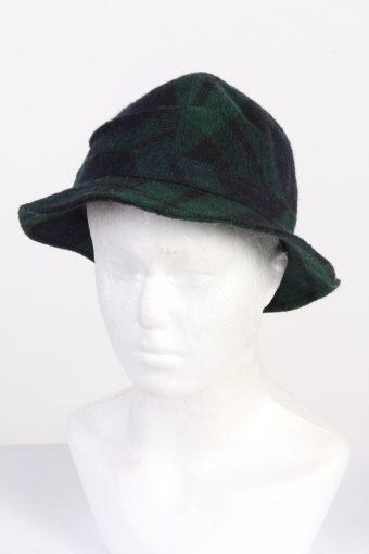 Vintage Fashion Unisex Brim Soft Checke Hat Wool Blended