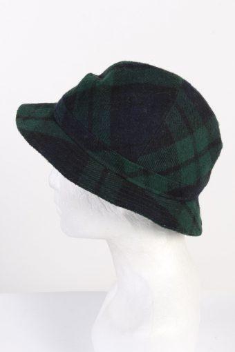 Vintage 1970s Fashion Unisex Brim Soft Checkered Hat Wool Blended Green HAT1463-128349