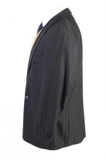 "Vintage Classic Lined Wool Blended Blazer Jacket Chest 45"" Black HT2731-127439"