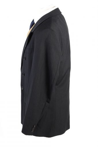 "Vintage Atelier Torino Classic Lined Wool Blended Blazer Jacket Chest 45"" Black HT2733-127447"
