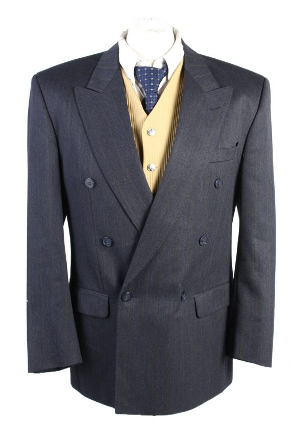 """Vintage Schulze Classic Lined Wool Blended Blazer Jacket Chest 44"""" Navy HT2742-0"""