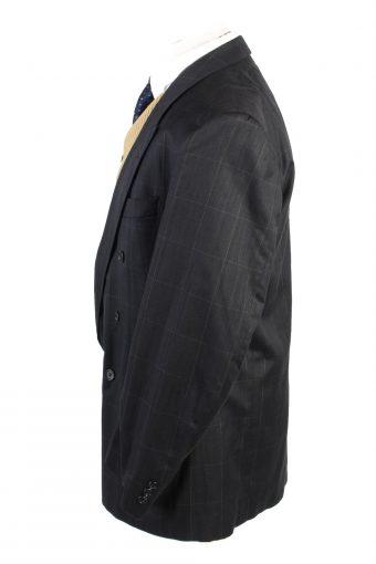 "Vintage Babylon Classic Lined Plaid Blazer Jacket Chest 45"" Black HT2746-127495"