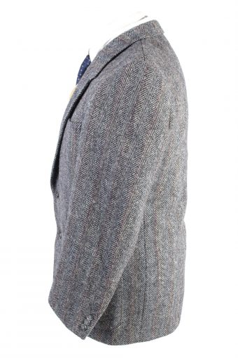 "Vintage Harris Tweed Classic Windowpane Blazer Jacket Chest 42"" Grey HT2753-128029"