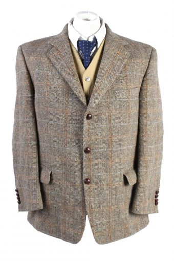 Harris Tweed Blazer Jacket Windowpane Brown L