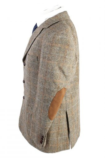 """Vintage Harris Tweed Classic Windowpane Featuring Elbow Patches Blazer Jacket Chest 47"""" Brown HT2754-128033"""