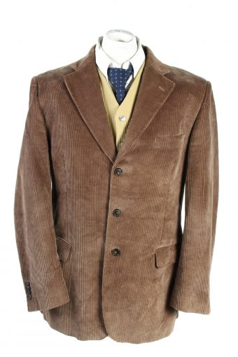 Men Blazer Jacket Velluto Duca Visconti Di Modrone Classic Corduroy Lined Brown XL