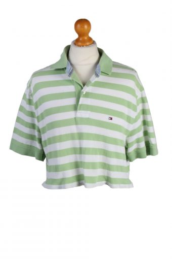 Tommy Hilfiger Womens Croped Top Polo Shirt Short Sleeve Remake Green M/L