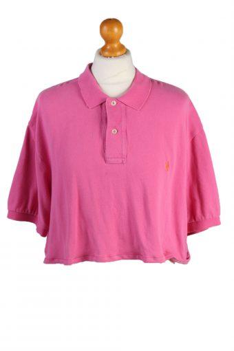 Ralph Lauren Womens Croped Top Polo Shirt Short Sleeve Remake Pink L/XL