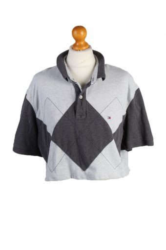 Tommy Hilfiger Womens Croped Top Polo Shirt Short Sleeve Remake Grey L/XL