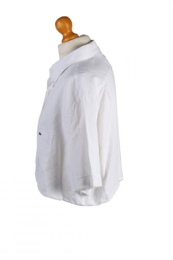 Vintage Lacoste Womens Croped Top Shirt Short Sleeve 46 White CRTOP06-132229