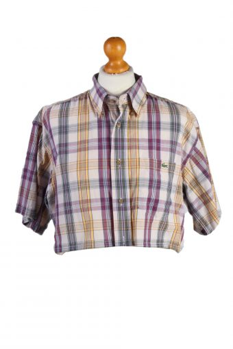 Lacoste Womens Croped Top Shirt Short Sleeve Remake Multi XL