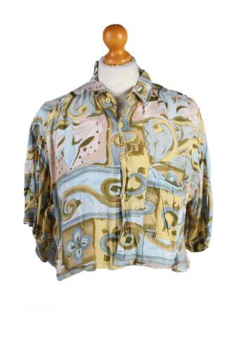 Womens Croped Top Shirt Short Sleeve Remake Multi M/L