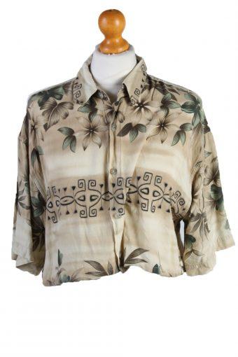 Womens Croped Top Shirt Short Sleeve Campia Moda Remake Cream M