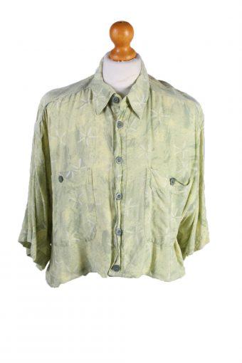 Womens Croped Top Shirt Short Sleeve Aprion Remake Green L/XL