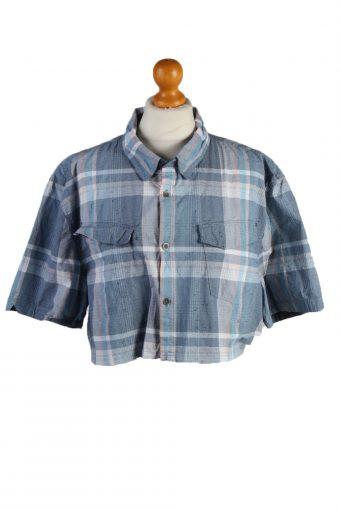 Calvin Klein Womens Croped Top Shirt Short Sleeve Remake Blue XL